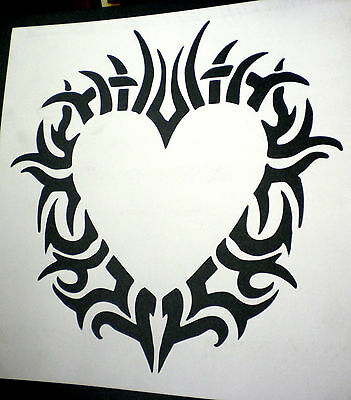 high detail airbrush stencil  tribal heart FREE UK POSTAGE