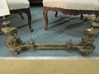 Fabulous Antique 19Th Century French Brass Extending Fire Grate Fender