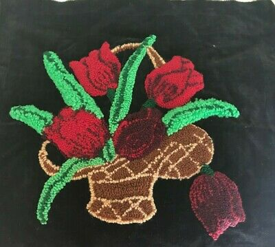 """Vintage Hand Embroidered Beautiful Spring Flower tulips Ready to Frame 17"""" X 17"""
