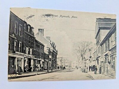 POSTCARD Main Street Plymouth MA c1907 Horse Carriage and Buggie X-1