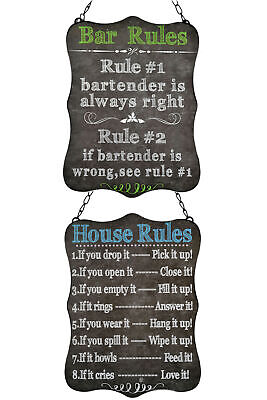 Set of 2 Retro Vintage-Style Chalkboard-Look House/Bar Rules Wall Signs Plaques