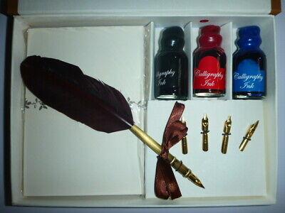 Caligraphy Pen Set Quill Pen, 4 Nibs, 3 Inks and Stationery in Gift Box - CAL5