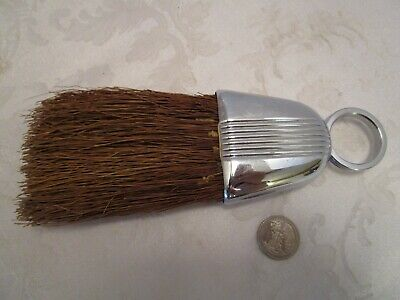 "Art Deco Chase Chrome Crumb Brush 1920's antique machine age 8"" long"