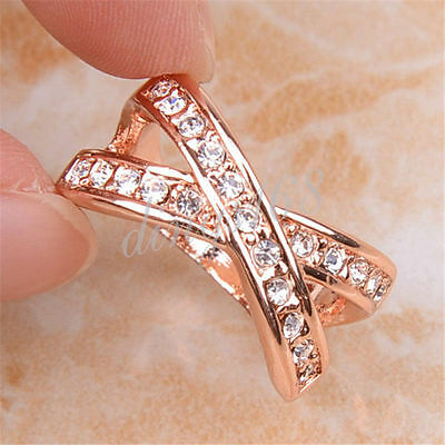 Women 18K Rose Gold Filled Shiny Cross Cubic Zirconia CZ 10mm Ring Size 5~9  H17