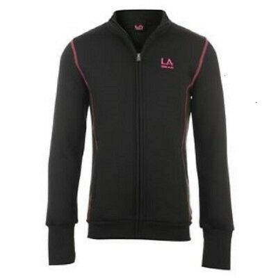 Bnwt Girls La Gear Black  Full Zip  Top Fleece Long Sleeve Age 7-8 Years