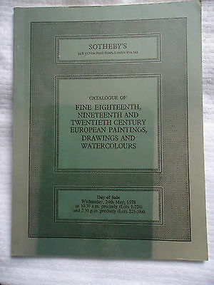 1978 SOTHEBY'S FINE 18th 19th CENTURY EUROPEAN PAINTINGS DRAWING AUCTION CATALOG