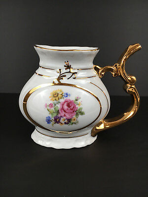 Vintage Small Porcelain Pitcher with Floral Design - Made in Czechoslovakia