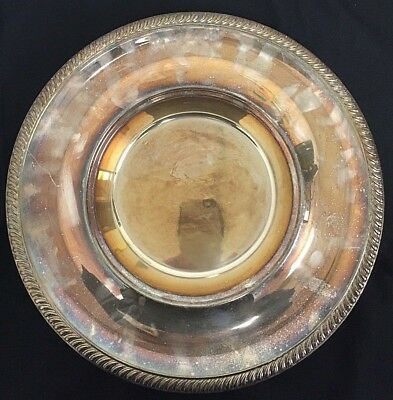 """Antique English Silver Plate Tray With Pedestal 14"""""""
