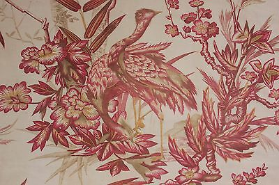 Fabric Toile bird material Antique French printed upholstery weight fabric