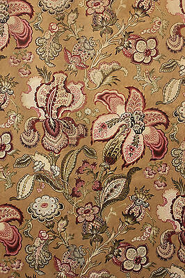 Fabric Antique French block printed Indienne STUNNING floral c1870 upholstery !