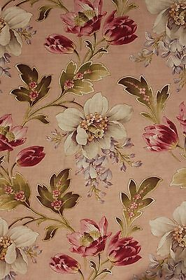 Antique French floral fabric 1900 Indienne large scale flower cotton pink ground