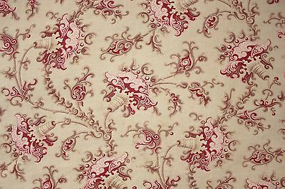 Bed curtain Cretonne Antique French Fabric pink khaki c1880 Arts & Crafts ruffle