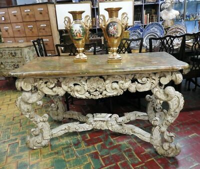 Wonderful Antique Console Table Luigi XVI of 700 Rich Sculpture Lacquer Coeval