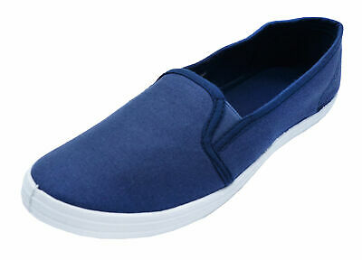 Ladies Navy Blue Canvas Flat Slip-On Plimsoll Pumps Comfy Casual Shoes Uk 3-8