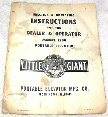 Little Giant Farm Equip. Model 1900 Potable Elevator--Instructions Manual--1955