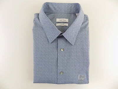 f5ef0770 CALVIN KLEIN $75 Blue 18 x 34/35 Regular FIT MEN DRESS SHIRT STRETCH CASUAL