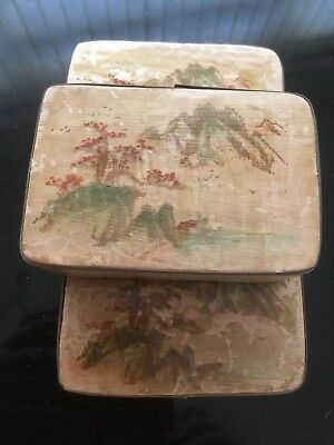 Vintage Chinese Bamboo Wooden Box padded and Hand Painted Flowers