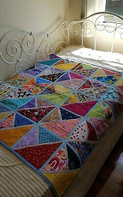 Handmade Patchwork Quilt Small Bright Colours Children excellent condition