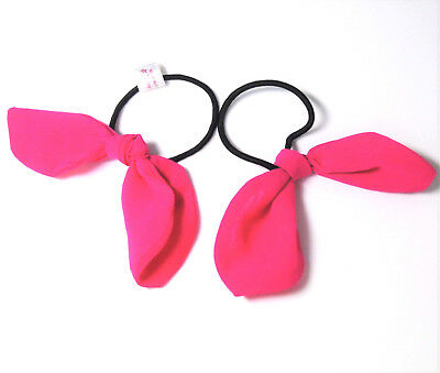 American Girl Lot (2) GIRLS PINK BOW PONYTAIL HOLDERS / HAIR TIES Child Or Doll!