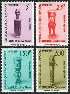 Ivory Coast 910-913,MI 1055-1058,MNH.Tribal Drums: We,Krou,Sinematiali,Akye,1991
