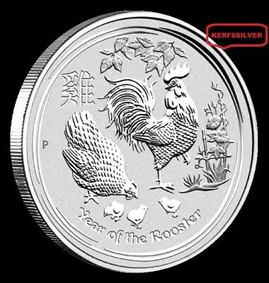 2017 YEAR OF THE ROOSTER 1 OZ. PERTH MINT LUNAR ll FINE SILVER COIN - IN CAPSULE