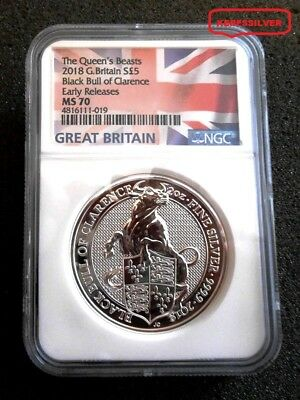 2018 G. Britain's Flag Label Queen Beast Black Bull  2 Oz. Silver  Er - Ngc Ms70