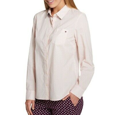 TOMMY HILFIGER NEW Women's Pink Pattern Roll-tab Button-down Shirt Top S TEDO