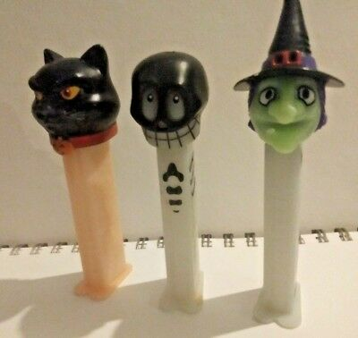Lot of 3 Pez Dispensers 2003 Halloween Glow in the Dark Skull Witch and Cat