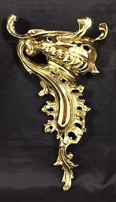 "Vtg Rococo Style Solid Cast Brass Corbel Wall Shelf Bracket 17"" Large Heavy"