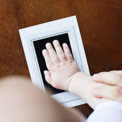 Newborn Baby Handprint Footprint Wooden Ink Pad Kit Photo Frame DIY Decor Gift