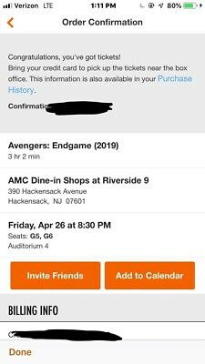 Two Avengers: Endgame Tickets Friday April 26th AMC DINE IN Shops at Riverside 9