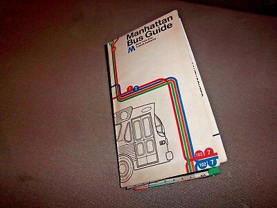 Manhattan New York City Bus Guide Map 1974 Original Transit Collectible Ny Nyc