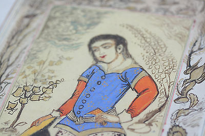 Fine Antique Persian Qajar Princess Painting Garden Middle Eastern Islamic Art