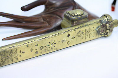 Antique 1890s Ottoman Persian Engraved Brass Calligraphy Pen Case Divit Qalamdan