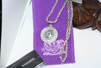 """Sterling Silver Greek Large Alexander The Great Necklace 45CM 18"""" 4MM Rope Chain"""