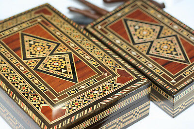 Collectible Set Vintage Inlaid Wood Large Jewelry Box Antique Wooden Egyptian