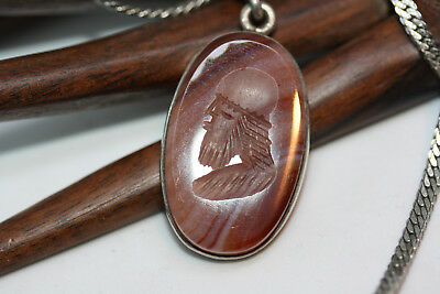 """Ancient Babylonian Silver Engraved Carnelian Soldier Head Pendant Necklace 18"""""""