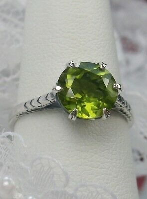 2.1ct Natural Peridot Sterling Silver Edwardian 1910 Etched Filigree Ring Size 7