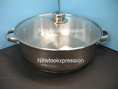 18/10 Stainless Steel MEGA COOK Germany fry pan low POT kitchen cookware new