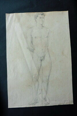 FRENCH SCHOOL 19thC - FINE STUDY MALE NUDE IN ROBUST POSE - CHARCOAL