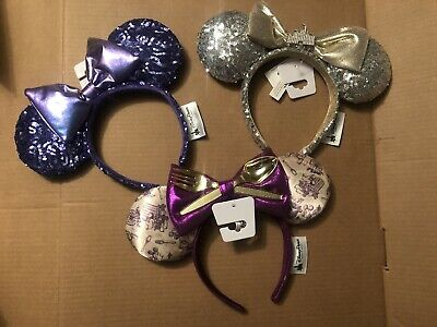 Disney Parks Minnie Mouse Ears Headband Purple, Silver Castle Sequin, & DCA food