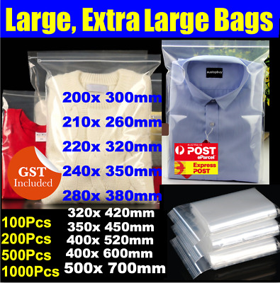 BULK Large, Extra Large Size Clear Resealable Zip Lock Bags Plastic Bag A3 A4