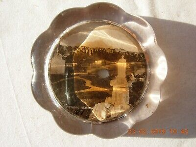 Antique Victorian paperweight of Tenby. Large glass tinted photograph