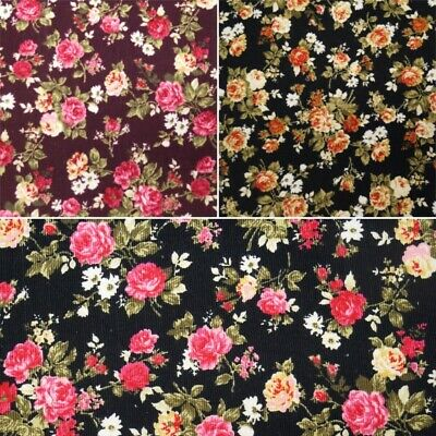 100% Cotton Corduroy Fabric Roses Rose Floral Flower Leaves Garden