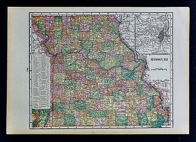 KANSAS MAP: AUTHENTIC 1899; Counties, Cities, Towns, Railroads ... on