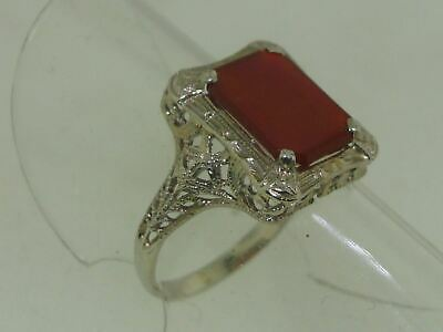 Beautiful Antique 1920'S Art Deco 14K Gold Filigree Approx. 2 Ctw Carnelian Ring
