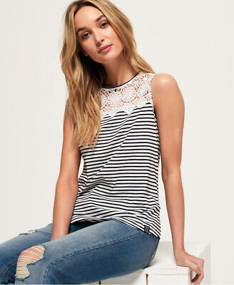 New Womens Superdry Island Lace Tank Top Sandstorm White