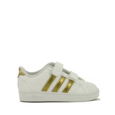 bf45c3f41f54 ADIDAS KIDS  BASELINE CMF Inf Sneakers Shoes Size 9K White Gold Boys ...