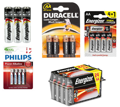 Duracell, Philips, Energizer Alkaline Batteries AAA/AA (4, 5, 8, 24 Packs) LR3/6