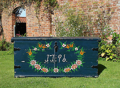 18th Century Swedish Painted Oak Trunk Coffer Blanket Chest